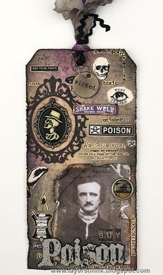 Layers of ink - Halloween Apothecary Tag Tutorial by Anna-Karin. Made with Tim Holtz idea-ology products and Ranger inks.