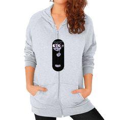 Mysterious Goth Girl Zip Hoodie (on woman) Shirt