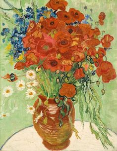Art of the Day: Van Gogh, Still Life, Vase with Daises and Poppies, June 1890. Oil on canvas, 66 x 51 cm. Private collection.