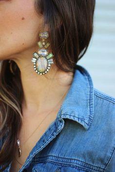 FRANKIE HEARTS FASHION: Double Denim + Statement Earrings