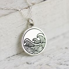 Waves Necklace - Sterling Silver Etched Ocean Waves Necklace - Waves Pendant - Beach Jewelry - Surfing Necklace - Water Necklace - Resort by TNineandCompany on Etsy