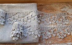 Pure Linen Hand Crocheted Delicate Lace. Natural Grey.Set of 2