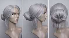 Ciri Witcher 3 cosplay wig grey woman