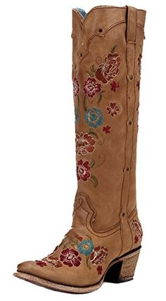 b7621dcb4e75 Corral Women s C2672 Tall Floral Embroidery Brown Western Boots 7 M CORRAL  http