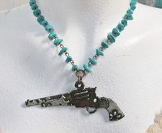 """18"""" turquoise nugget chain with hand soldered pistol pendant Classy Cowgirl Co- Gypsy Cowgirl ,Fun & Funky Western clothing, jewelry, & Accessories by R"""