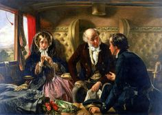 1855    'First Class - The Meeting'.  Oil painting by Abraham Solomon (1823-1862). Solomon already built up reputation as artist when, in 1854, he turned to railway travel as subject. First version completed in 1854, caused controversy as shows young man flirting with young woman whilst her father asleep. In this revised version, man ishown talking to father, while exchanging glances with woman.   © NRM / Pictorial Collection / Science and Society Picture Library suzilove.com