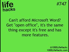 """""""Open office"""" is a free version of Microsoft office"""
