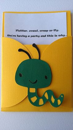 Bug theme pocket invitation.  Pick your colors by SweetBugABoo, $27.00