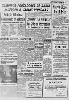 Vampiros portadores de rabia muerden a varias personas. Publicado el 1 de octubre de 1960.