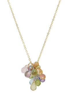 Multi-Gemstone Cluster Dangle Necklace