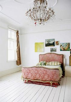 pink-bed-chandelier by {this is glamorous}, via Flickr