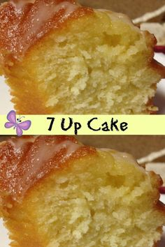 7 Up Cake is so moist and delicious you'll wonder why you have not made it before! 7 Up Cake Recipe Box Yellow Cake small Box I Cake Mix Desserts, Cake Mix Recipes, Pound Cake Recipes, Easy Desserts, Baking Recipes, Delicious Desserts, Dessert Recipes, Yellow Cake Recipes, 7up Cake Recipe