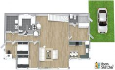 TRUE OR FALSE -- It looks like this family is unpacking for a fun vacation...   Hardwood floors, stairs, grass & cars = realistic floor plans: http://www.roomsketcher.com/features/3dphotos/  3D floor plan for ground floor dwelling designed in RoomSketcher Business Edition by aktiv
