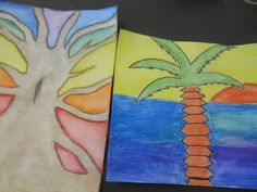 Water color pencil trees