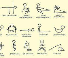 Yoga Stick Figure Learning Charts