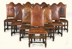 A matched set of six Italian carved walnut chairs, late 17th century | lot | Sotheby's
