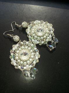 Beaded Swarovski Crystal Earrings/Rivoli/Weddings/Drop/Clear/White/Handmade by 4yourBeauty on Etsy