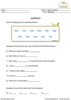 Literacy: Spellings 13   Worksheet   PrimaryLeap.co.uk Spelling Worksheets, Literacy Worksheets, Printable Worksheets, Year 1 English Worksheets, Free Worksheets For Kids, Primary Resources, Progress Report, High Frequency Words, Type I