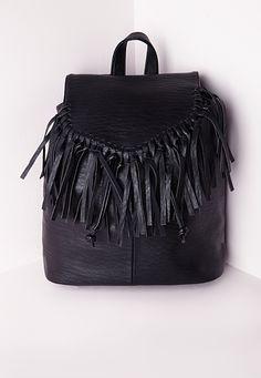 Tassel Trim Classic Backpack Black, Black