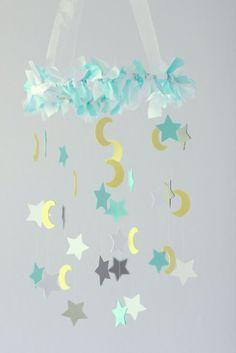 Moon & Star Nursery Mobile in Aqua Gray Yellow by LoveBugLullabies, $40.00