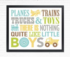 Boys playroom Planes trains print trucks and toys Plane