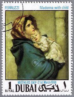 DUBAI - CIRCA 1968: A Stamp Printed In Dubai Shows Painting Of ...