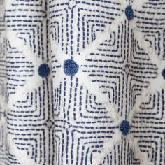 Fabric Ideas With a well travelled look this *embroidered Ellen Degeneres fabric will easily add that global feel to your space. The colours are navy blue, sandy cream and beige. Perfect for upholstery, roman shades, pillows and home decor projects. Blue Bathroom Vanity, Navy Blue Bathrooms, Bathroom Cabinets, Blue And White Fabric, Navy Fabric, Retro Dining Chairs, Blue Chairs, Accent Chairs, Geometric Fabric