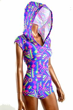 Neon Aztec Geometric Print Bodysuit Romper Hoodie with Boy Cut Leg UV Glow  -E7581