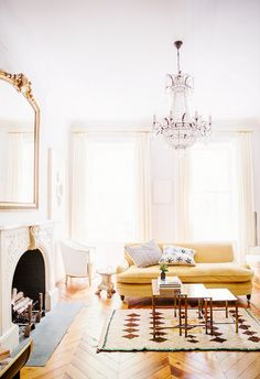 Ali-Cayne-NYC-townhouse-home-Greenwich-Village-yellow-sofa-couch - Home Decorating Trends - Homedit Lounge Design, Living Room Inspiration, Interior Inspiration, Garden Inspiration, Style Inspiration, Home Interior, Interior And Exterior, Yellow Interior, Townhouse Interior