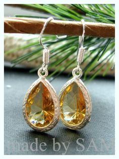 Champagne yellow  Earrings -bridesmaid gifts   .Choose from 4 colors: yellow , purple , clear crystal , blue SALE $27.5