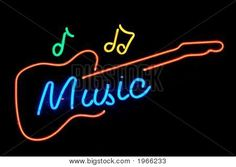 neon music notes | neon sign depicting the word 'music' with music notes and the ...