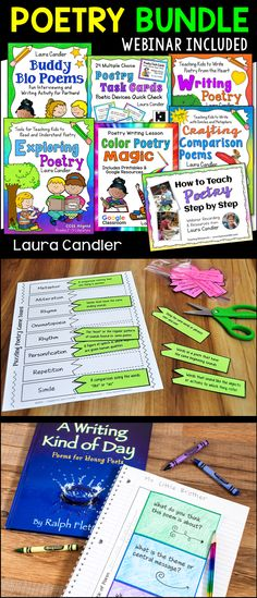 Poetry Unit Bundle with Lessons, Activities, Printables, and Task Cards Poetry Lessons, Writing Lessons, Writing Resources, Teaching Resources, Teaching Poetry, Teaching Reading, Learning, Poetry Activities, Poetry For Kids