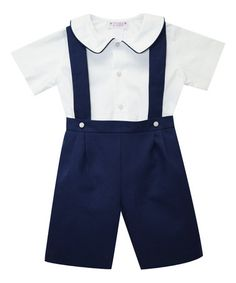 This Navy Shortalls & White Short-Sleeve Button-Up - Infant & Toddler is perfect! #zulilyfinds