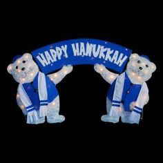 Decra Lite 36 in. Greeting Bears with Happy Hanukkah Sign-6820817ULX at The Home Depot