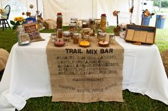 Need a unique wedding candy buffet idea?  How about a trail mix bar?  http://thingsfestive.blogspot.com/2012/09/real-diy-wedding-in-tampa-fl-mandy.html