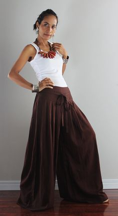 Chocolate Brown Wide Leg Pants:  Soul of the Orient Collection