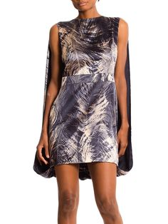 558940a23e4 McQ by McQueen Caped Feather Print Dress with Stretch
