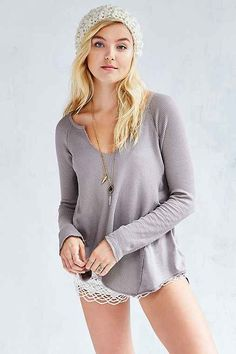 Project Social T Jessa Thermal Top $49 From urban outfitters in the color grey and size small