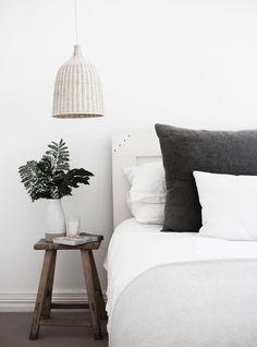 Minimalist Coastal Style House - Monochrome bedroom from minimalist coastal-style home in Avalon, NSW. Coastal Bedrooms, Coastal Living Rooms, Coastal Cottage, Coastal Style, Coastal Decor, Coastal Bedding, Coastal Farmhouse, Coastal Curtains, Modern Coastal