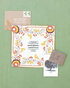These invitations were screen-printed by Bird & Banner on vintage linens; some handkerchiefs were bought in Savannah, and others belonged to the bride's family.Custom stenciled hankies, Sian Keegan.