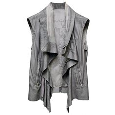 Leather Vest (€990) ❤ liked on Polyvore featuring outerwear, vests, jackets, tops, women, rick owens, zipper vest, leather waistcoat, leather vest and rick owens vest