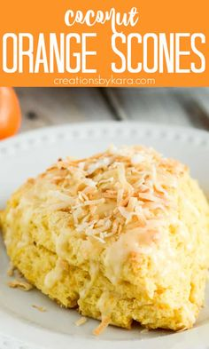 Coconut Orange Scones - tropical scones made with pina colada yogurt, topped with orange glaze and toasted coconut. A fresh and tasty orange scone recipe! #coconutorangescones #orangescones #tropicalscones #easyscones #coconutorangebiscuits -from Creations by Kara Fruit Scones, Savory Scones, Simple Recipes, Sweet Recipes, Homemade Scones, Orange Scones, Flaky Biscuits, Recipe Magic, Indian Dessert Recipes
