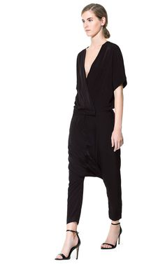 Image 2 of BAGGY JUMPSUIT WITH CROSSOVER NECKLINE from Zara