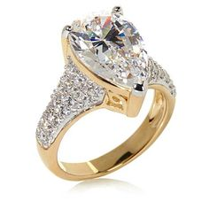 4.57ctw Absolute™ Pear-Cut and Pavé Sides Bold Solitaire Ring - 7126913 | HSN