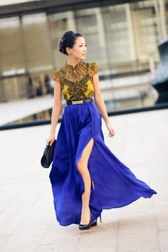 Wonderful combination of yellow and blue, such a classy and sexy look.