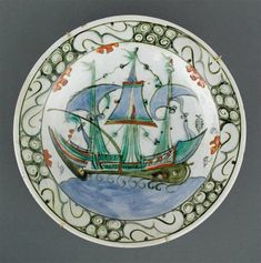 Dish decorated ship with three masts and sails blue - Musée national de la Renaissance (Ecouen) Glazes For Pottery, Ceramic Pottery, Renaissance, Framed Art, Wall Art, Grand Palais, All Poster, Ottoman, Islamic Art