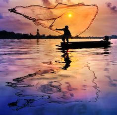 The fisherman #sunset #water #fishing #landscape