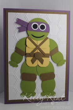 Teenage Mutant Ninja Turtle Punch Art - Donatello - instructions included.  Kelly Kent - mypapercraftjourney.com