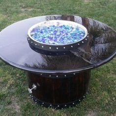 Hand Made Wine Barrel Propane Fire Pit made in San Diego.