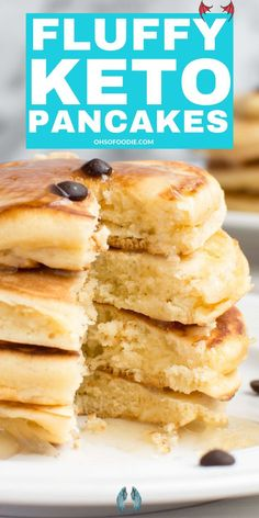 Fluffy Low Carb Keto Cream Cheese Pancakes - Oh So Foodie Low carb keto pancakes that make the perfect keto breakfast or low carb breakfast that are only 3.2g net carbs per serving! These easy low carb pancakes are THE BEST! #almondflourrecipes #creamcheeserecipes #coconutflourrecipes# pancakerecipes #pancakes #healthypancakes #ketopancakes<br> Keto Cream Cheese Pancakes, Low Carb Pancakes, Cream Cheese Recipes, Keto Pancakes Coconut Flour, Clean Eating Pancakes, Best Keto Pancakes, Fluffy Pancakes, Low Carb Wraps, Coconut Flour Recipes